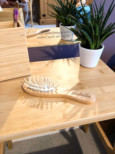 Personalised Wooden Hairbrushes for Little Hands - Professionally Laser Engraved