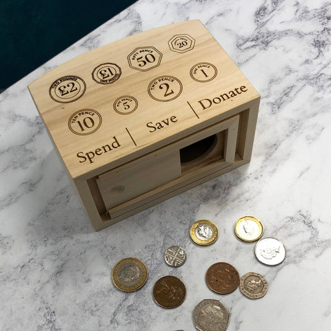 Money Box Piggy Bank Savings Children's GBP Coin UK Currency Donate Montessori Inspired Practical Life Kids Wooden