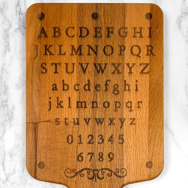 Alphabet & Numbers Tudor Style Hornbook Board Learning Letters
