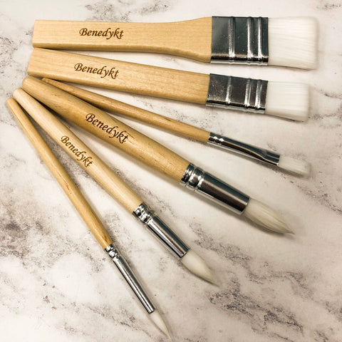 Personalised Set of 6 Wooden Children's Paint Brushes Kids Paintbrushes Wood Art Craft Tool Practical Life