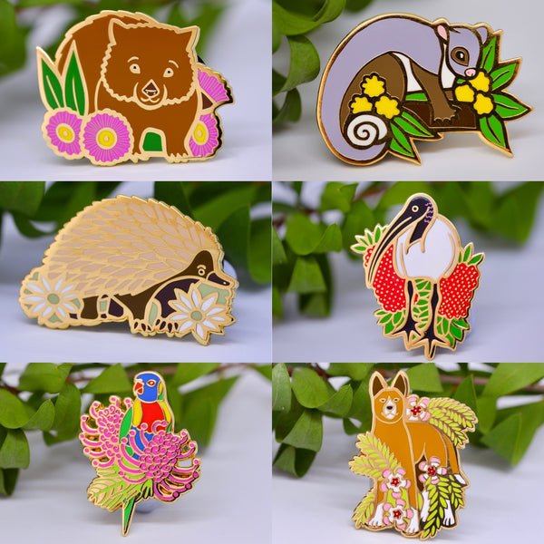 A selection of enamel pins