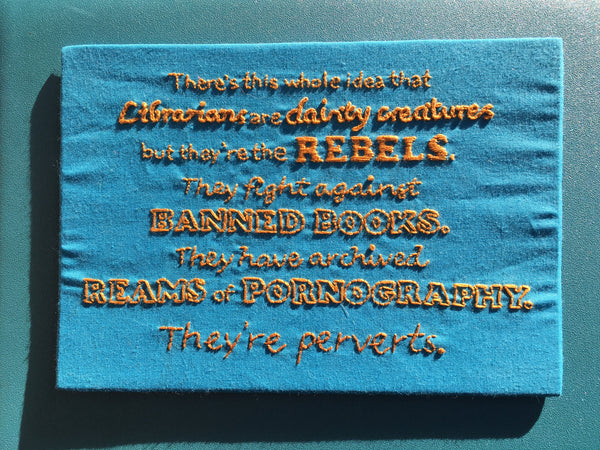 Librarians are rebels lettering quote embroidery