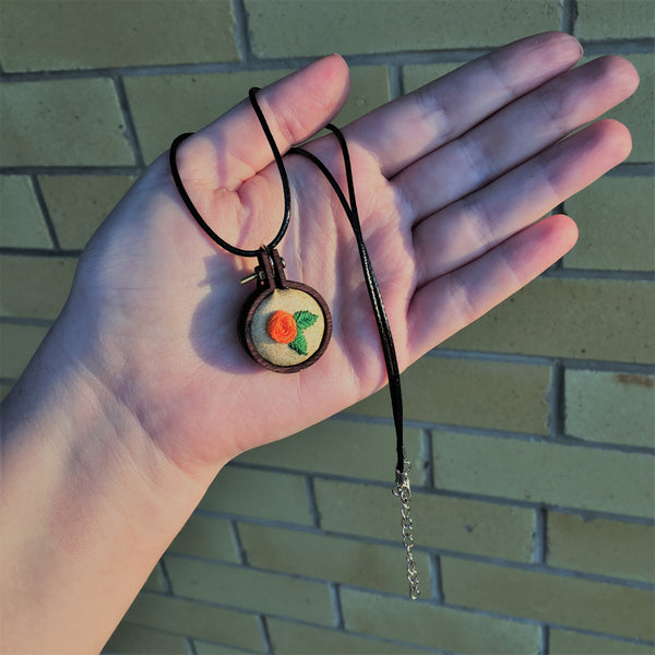Miniature rainbow embroidery hoop pendant