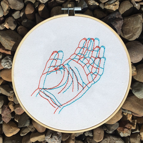 "Anaglyph: Hand embroidery art 8"" hoop"