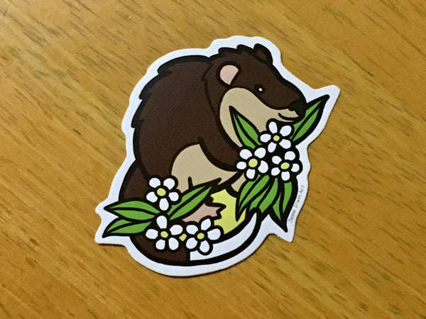 Rakali and Lemon Myrtle Vinyl Sticker - Australian Animals and Flowers - Die Cut Vinyl Sticker - Laptop Decal