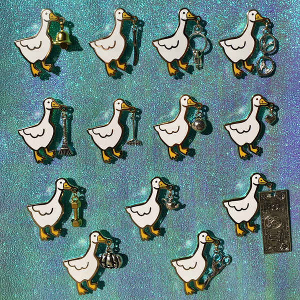 Horrible Goose Hard Enamel Pin with Bell or Charm - Rake, Glasses, Keys, Heart, Soccer Ball, Teapot, and More - Lapel Pin Cloisonné Badge