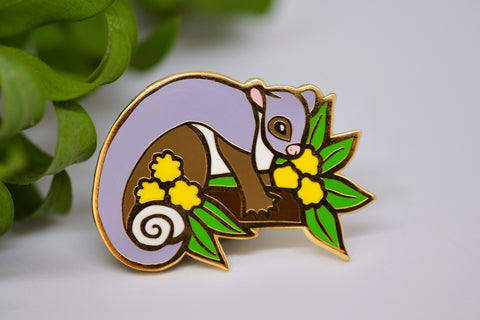 Ringtail Possum and Wattle Hard Enamel Pin - Australian Friends and Flowers - Aussie Animals - Lapel Pin, Cloissone Badge