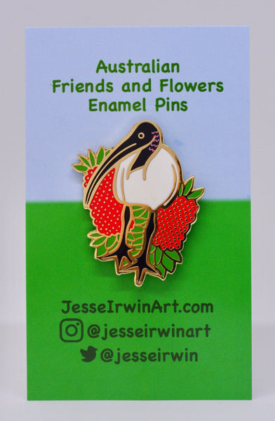 Ibis and Bottlebrush Hard Enamel Pin - Australian Friends and Flowers - Aussie Animals - Lapel Pin, Cloissone Badge
