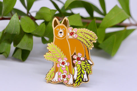 Dingo and Waxflower Hard Enamel Pin - Australian Friends and Flowers - Aussie Animals - Lapel Pin, Cloissone Badge