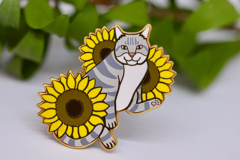 Cat and Sunflowers Hard Enamel Pin - Grey and White Tabby Cat - Lapel Pin, Cloissone Badge