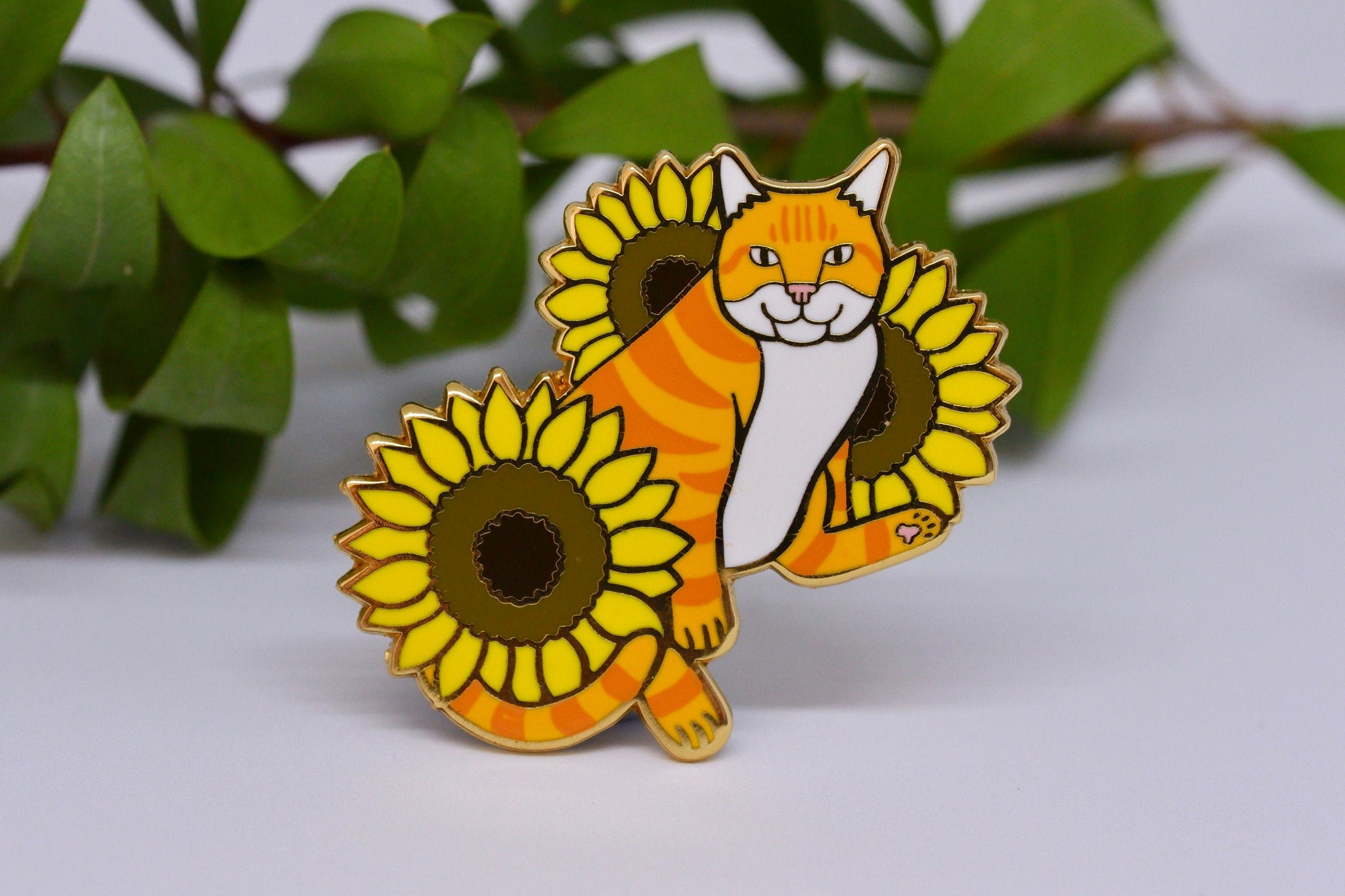 Cat and Sunflowers Hard Enamel Pin - Orange and White Tabby Cat - Ginger Cat - Lapel Pin, Cloissone Badge
