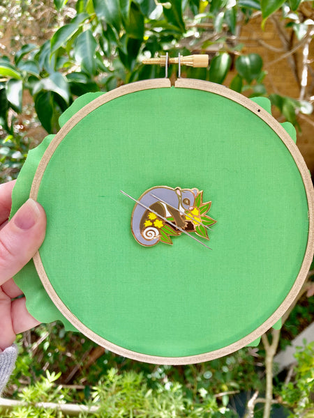 Magnetic Needleminder - Ringtail Possum and Wattle 40mm Hard Enamel Pin Converted to Needle Minder with Neodymium Magnets