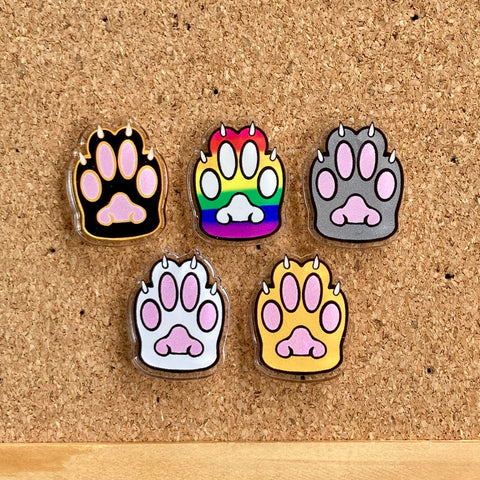 "Kitty Toebeans Acrylic Pins - 25mm (1"") tall - Five Colours - Recycled Acrylic"