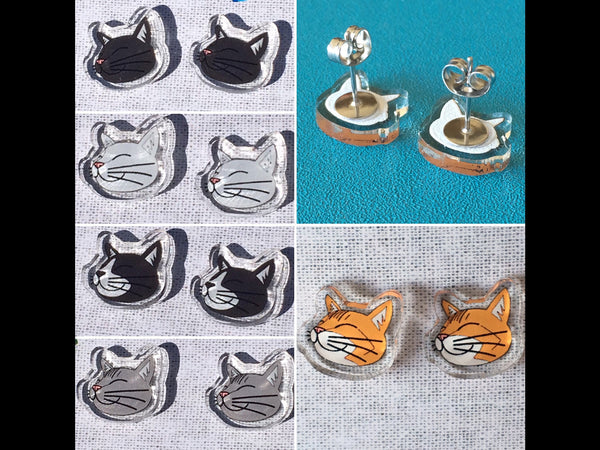 Happy Cats Earrings Studs - Five Colours - Recycled Acrylic