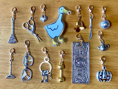 Horrible Goose Mega Charms Pack! Hard Enamel Pin with 13 Charms. Bell, Knife, Glasses, and More!