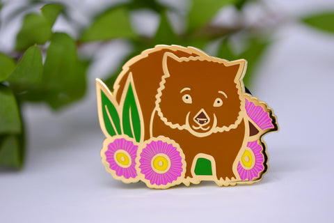 Wombat and Gumnut Blossom Hard Enamel Pin - Australian Friends and Flowers - Aussie Animals - Lapel Pin, Cloissone Badge
