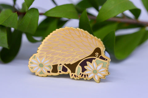 Echidna and Flannel Flower Hard Enamel Pin - Australian Friends and Flowers - Aussie Animals - Lapel Pin, Cloissone Badge