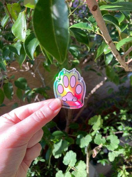 Holo Rainbow Kitty Beans Vinyl Sticker - Holographic Silver Cat's Paw - Die Cut Vinyl Sticker - Laptop Decal