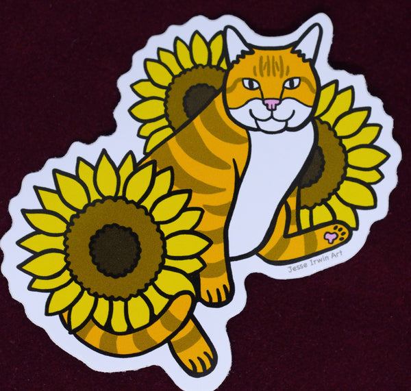 Cat and Sunflowers Vinyl Sticker - Orange and White Cat - Ginger Cat - Die Cut Vinyl Sticker - Laptop Decal