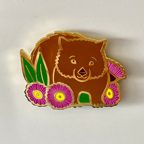Magnetic Pin or Fridge Magnet - Wombat and Pink Gumnut Blossoms 40mm Hard Enamel Pin Converted to Magnet Clasp with Neodymium Magnets