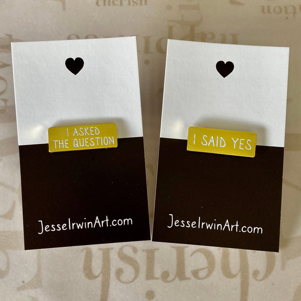 Engagement and Wedding Pin Set - Gender Neutral - Soft Enamel Pin
