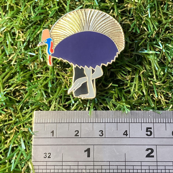 Cassowary and Grass Tree 40mm Hard Enamel Pin - Australian Friends and Flowers - Aussie Animals - Lapel Pin, Cloissone Badge
