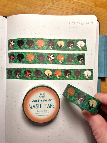 Curled Cats Washi Tape - 15mm x 10m - Decorative Planner Tape
