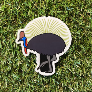 Cassowary and Grass Tree Vinyl Sticker - Australian Animals and Flowers - Die Cut Matte Vinyl Sticker - Laptop Decal