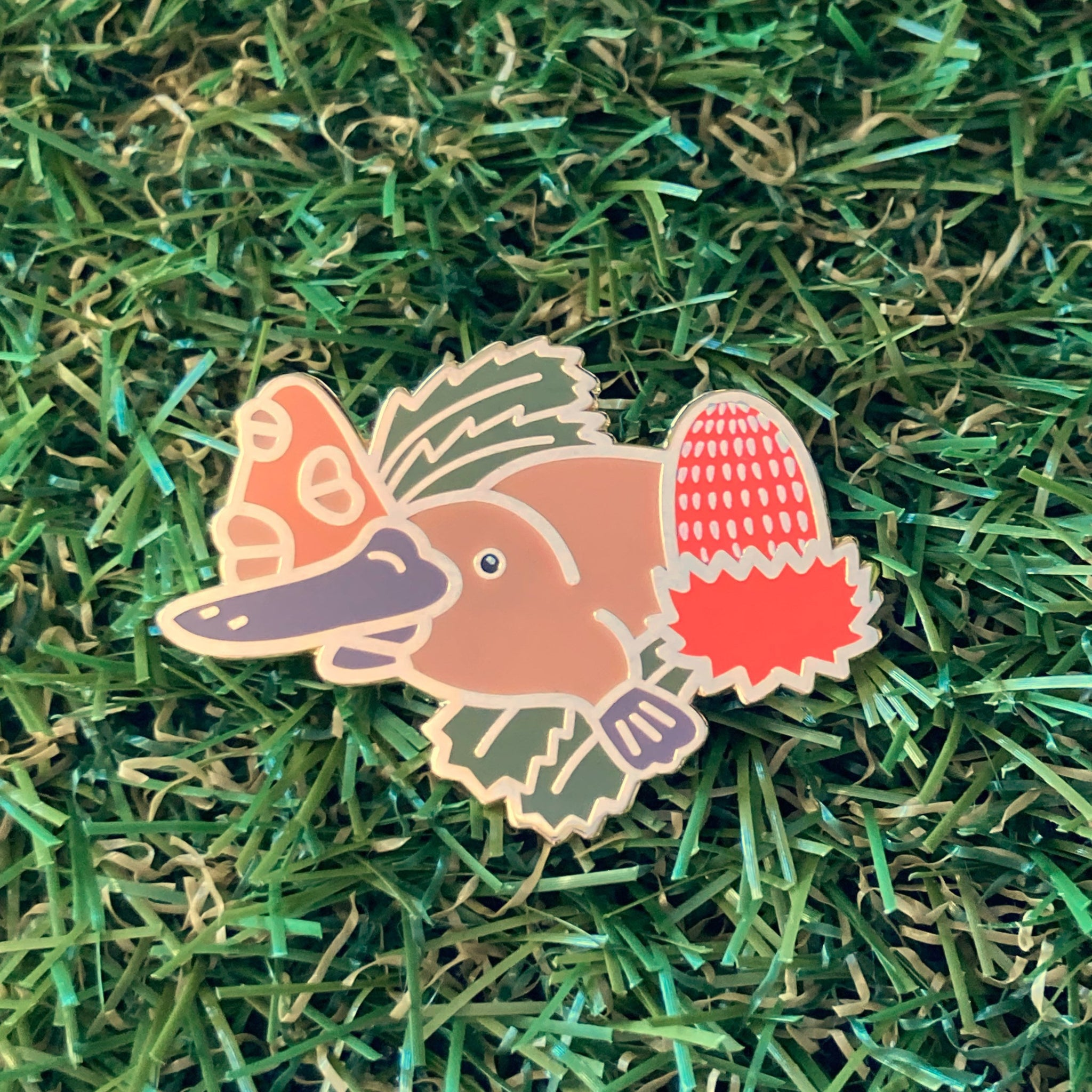 Platypus and Banksia 40mm Hard Enamel Pin - Australian Friends and Flowers - Aussie Animals - Lapel Pin, Cloissone Badge