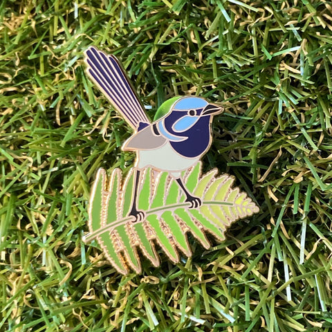 Superb Fairy Wren and Fern 40mm Hard Enamel Pin - Australian Friends and Flowers - Aussie Animals - Lapel Pin, Cloissone Badge