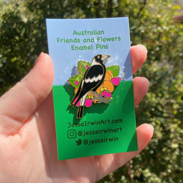 Magpie and Flame Pea 40mm Hard Enamel Pin - Australian Friends and Flowers - Aussie Animals - Lapel Pin, Cloissone Badge