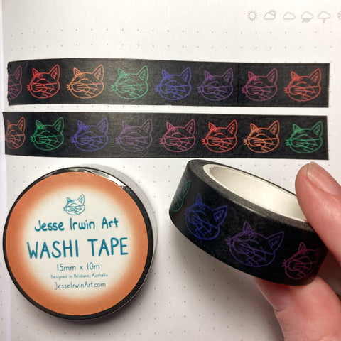 Neon Cats Washi Tape - 15mm x 10m - Decorative Planner Tape