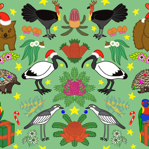 PREORDER - Aussie Christmas Wrapping Paper 70cm x 100cm - Designed by Brisbane Artist - Native Australian Animals and Birds and Flowers