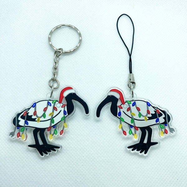 Christmas Ibis Clear Acrylic Charm Ornament - Transparent Design - Choose Charm Loop or Keychain Keyring - Cute Santa Hat and Lights