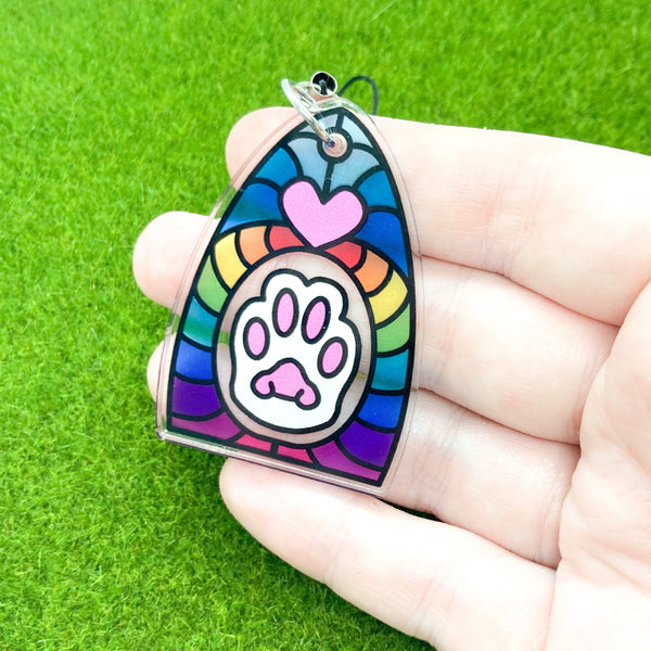 Cat's Paw Clear Acrylic Charm Ornament - Transparent Design - Choose Charm Loop or Keychain Keyring - Rainbow Stained Glass Effect