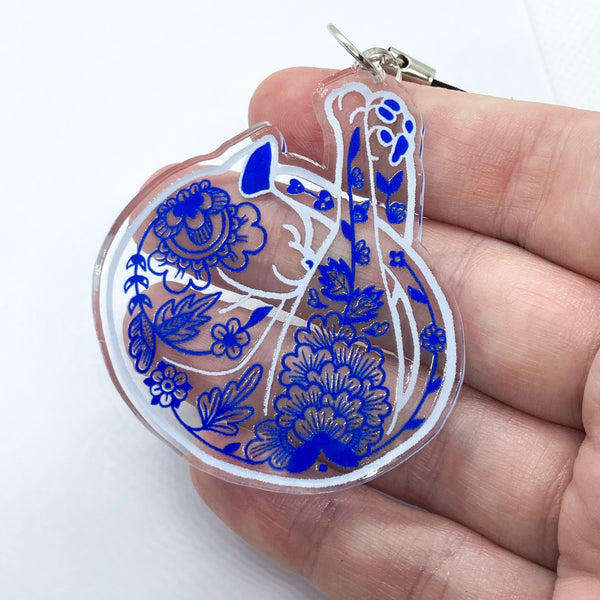 Porcelain Cat Clear Acrylic Charm Ornament - Transparent Design - Choose Charm Loop or Keychain Keyring - Blue & White Stained Glass Effect
