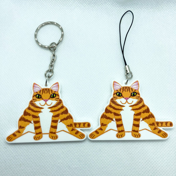 Chunky Ginger Cat Acrylic Charm Washi Tape Cutter - Choose Charm Loop or Keychain Keyring