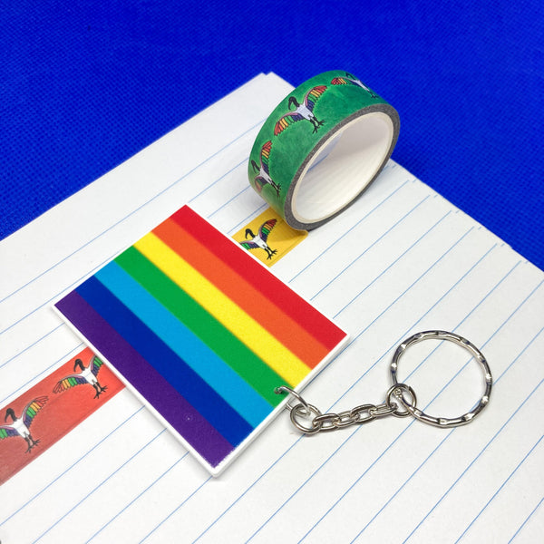 Rainbow Flag Acrylic Charm Washi Tape Cutter - Choose Charm Loop or Keychain Keyring