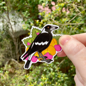 Magpie and Flame Pea Vinyl Sticker - Australian Animals and Flowers - Die Cut Vinyl Sticker - Laptop Decal