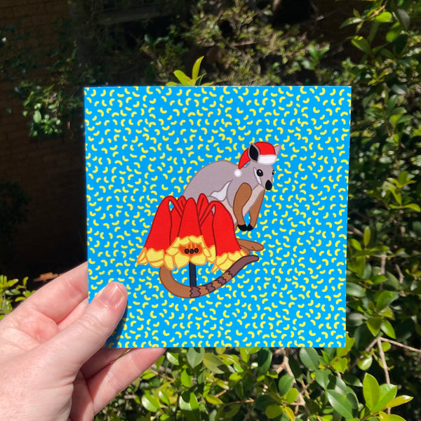 Wallaby and Christmas Bells Flower Christmas Card - Funny Pun - Australian Artist - Envelope Included