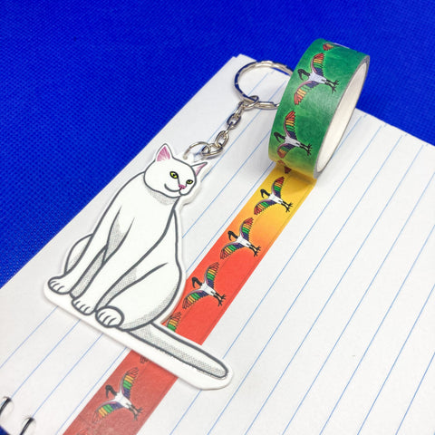 White Cat Acrylic Charm Washi Tape Cutter - Choose Charm Loop or Keychain Keyring