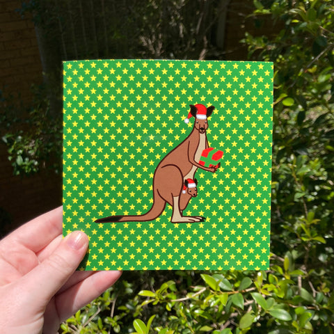 Kangaroo and Joey Christmas Card - Funny Pun - Australian Artist - Envelope Included