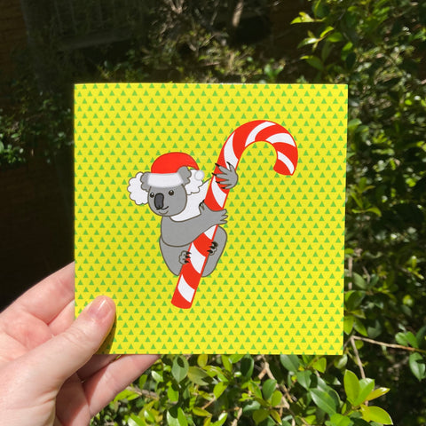 Koala Christmas Card - Funny Pun - Australian Artist - Envelope Included