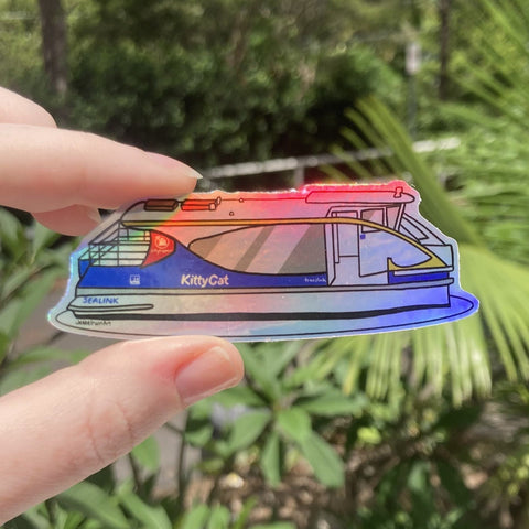Kitty Cat Holo Rainbow Vinyl Sticker - Holographic Silver Brisbane Ferry - Die Cut Vinyl Sticker - Laptop Decal