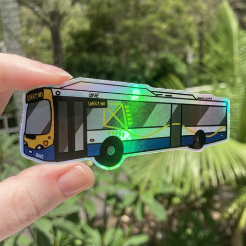 Brisbane Bus Holo Rainbow Vinyl Sticker - Holographic Silver Public Transport - Sorry No - Die Cut Vinyl Sticker - Laptop Decal