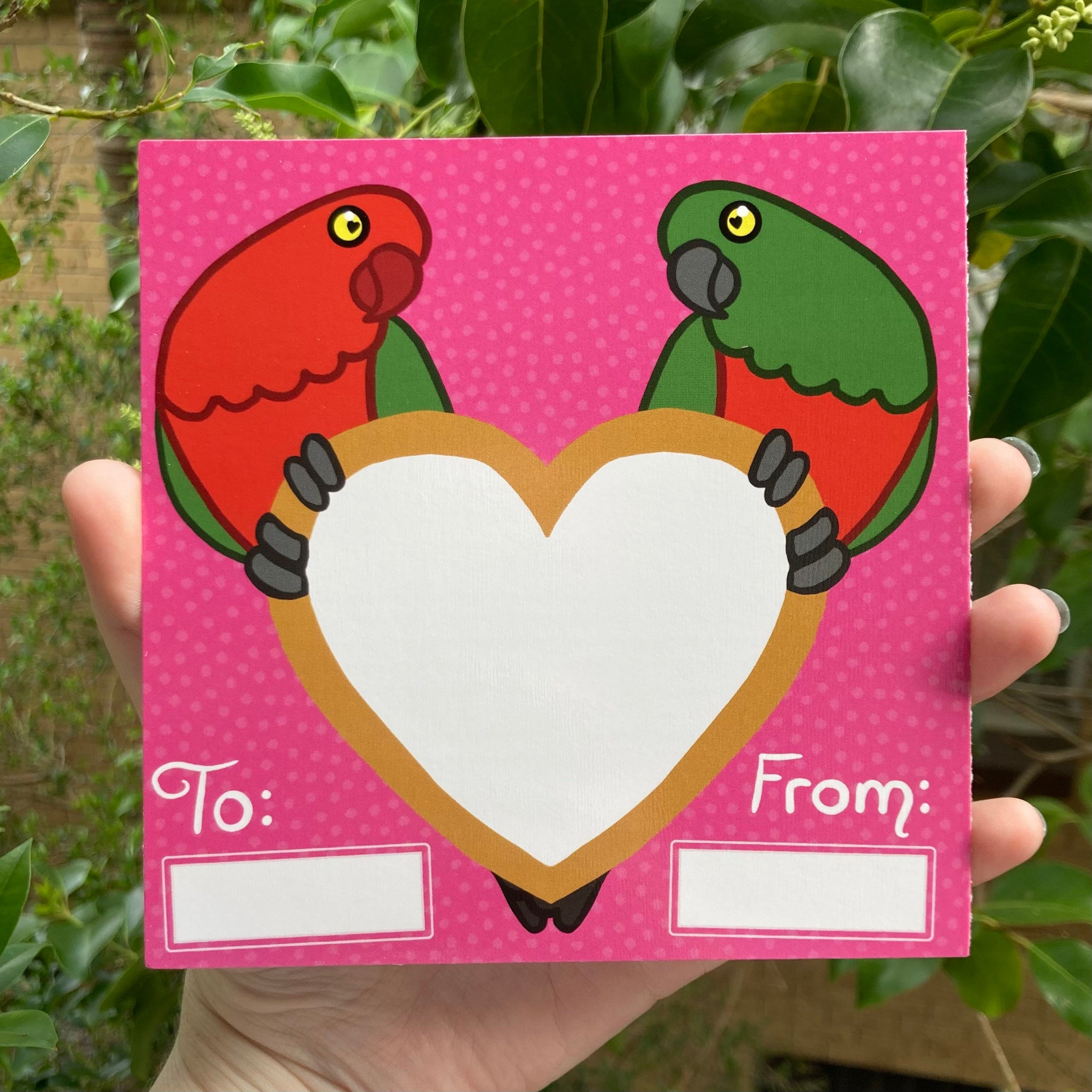 King Parrots Valentine's Day card - Secret Scratch-off Heart Shaped Sticker! LGBT Gay Lesbian Options Available, Envelope Included