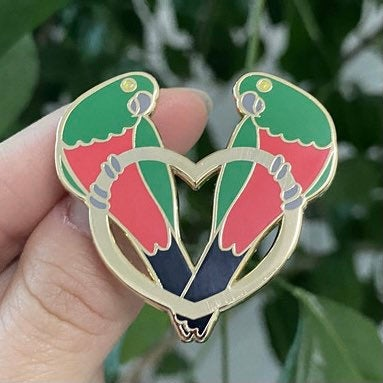 PREORDER: King Parrots and Golden Heart - 40mm Hard Enamel Pin - Valentines Day Pin - LGBT Gay and Lesbian options available
