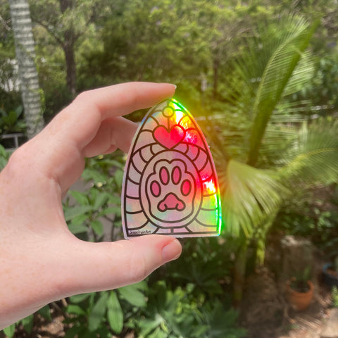 Cats Paw Holo Rainbow Vinyl Sticker - Holographic Silver Cute Stained Glass Window Memorial - Die Cut Vinyl Sticker - Laptop Decal