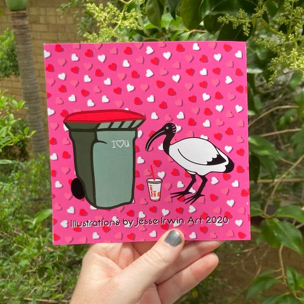 I've bin chicken you out - Australian Ibis Valentine's Day Card - Funny pun and illustration