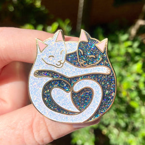 Cuddling Cats Hard Enamel Pin - Black and White with Glitter - Limited Edition of 100 - Iridescent and Rainbow Glitter